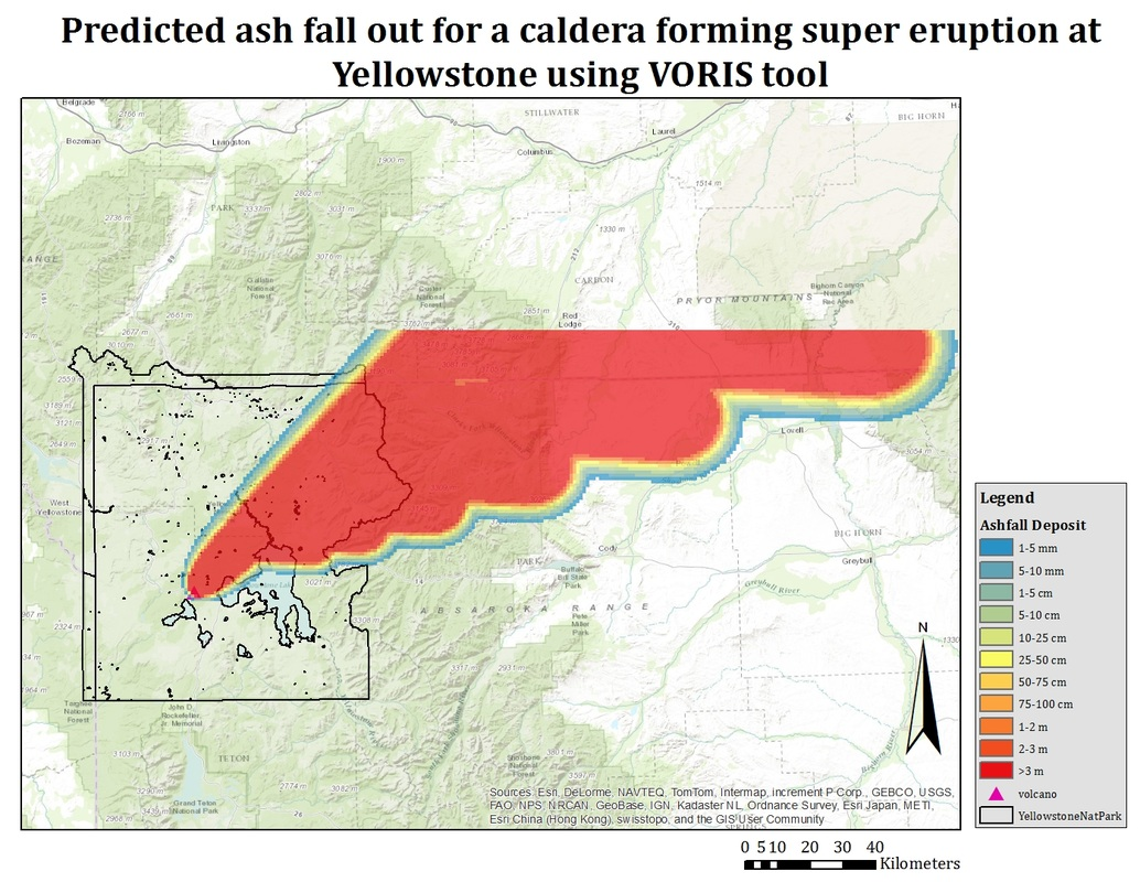 Methodology - Volcanic Hazard Map of Yellowstone National Park on mt st. helens volcano, lava from kilauea volcano, map of united states volcano,